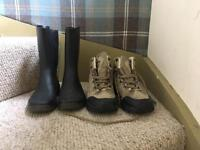 Kids hiking boots and wellies