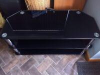 Black glass and chrome TV stand and shelving unit
