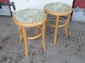 2 x Material Topped Wood Stool Delivery Available aw053