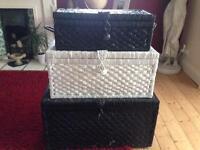 3 wicker storage boxes
