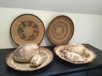 Handwoven African reed bowls x 4