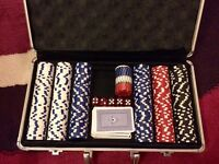 Casino chips and table top set