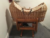 Moses basket with gliding stand and brand new mattress
