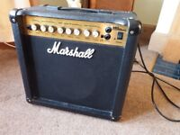 Marshall 15 watt guitar amp with digital effects and overdrive