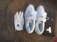 Ladies Hi Tec golf shoes size 7 in white plus accessories