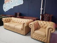 Real Leather Chesterfield Sofa & Club Chair