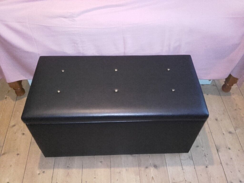 Black Quality Faux Leather Soft Close Lid Ottoman Storage Box Seat Bench Excellent Condition In Aberdeen Gumtree