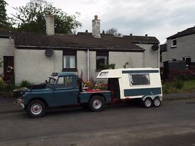 landrover 109 and matching micro caravan