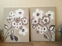 2 x large next canvases cream and browns