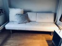 Modern 3 Seater white faux leather sofa bed with chrome steel legs