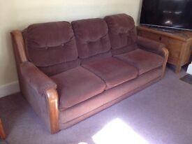 Large American Brown Sofa Bed with Kingsize Mattress.
