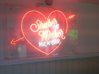 "Barely Used Neon ""Shaker Maker Milk Bar"" Sign In Plexi Case"