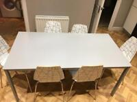 Dining table and 6 chairs - grey