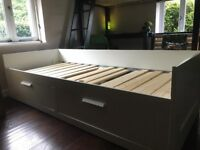 IKEA Brimnes single bed. Can covert to a double . Includes drawers