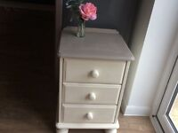 Attractive bedside table/chest of drawers. Shabby chic style in Annie Sloan paints