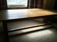 Pine refectory table with 8 chairs