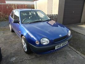 1998 TOYOTA COROLLA 1.3 PETROL RARE CAR MOT,D £550.00 ONO.