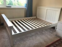 White wooden double bed frame for sale- originally from Dreams cost over £300 new