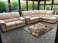 Ivory Leather Corner Sofa + 2 Seater Sofa Suite Excellent Condition