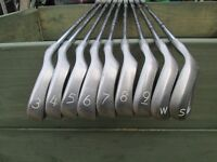 ping eye 2 + black dot irons,3 to s/w,mens right handed regular steel shafts.
