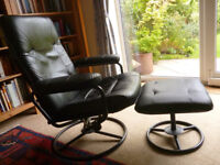Black Leather Reclining Armchair with Footstool