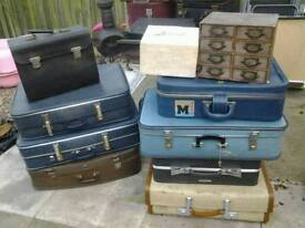 Vintage retro suitcases ideal upcycling projects