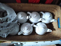 House/ Restaurant clearance! 5 White Porcelain Teapots with lids in very good condition.