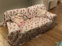 2 Seater Beige Sofa & Floral Throw