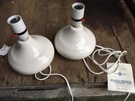 Haze-ware pair of vintage lamps