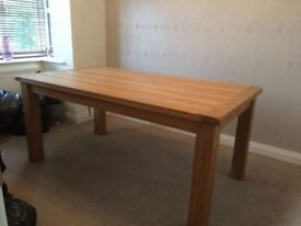 Solid Oak Dining Table, 6 Seater