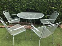 Metal garden dining table and 4 chairs