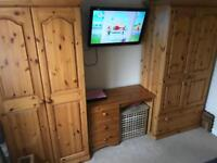 Pine solid wood matching bedroom set- wardrobes and dresser table/ desk