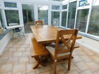 NEVADA DINING ROOM TABLE 2 CHAIRS 2 BENCHES SEATING IN TOTAL 8 MADE FROM MANGO WOOD