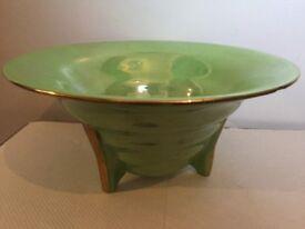 Green ceramic Art Deco bowl by Maling