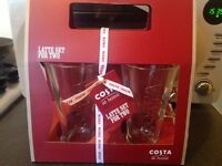 Costa latte glasses. Minus the biscuits