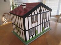 Hand-built dolls house with furniture, owned from new, very sturdy and in very good condition
