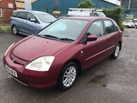 03 HONDA CIVIC 5 DOOR HATCHBACK 1.6 LITRE PETROL MOT TILL 24/02/18 DRIVES ABSOLUTELY PERFECT