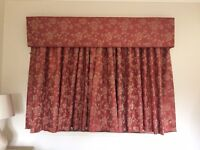 Teracotta/gold silk curtains and matching padded pelmet