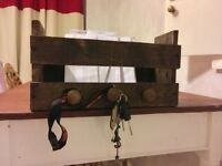Vintage upcycled key and letter rack