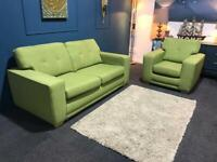 Gorgeous Green fabric suite 3 seater sofa and chair