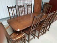 Vintage Ercol Rectangular Dining Room Table with 2 Carver Chairs and 6 Dining Chairs