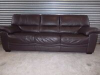 Large Luxury Brown Full Leather 3-2-1 Suite