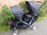 Double pushchair Graco tandem and car seat carrier in black in very good condition