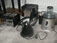 kitchenware for sale,moulinwx juicer, kettle and 4 slice toaster, cappuccino maker.