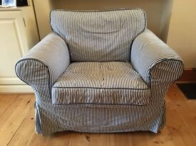 Fantastic, extremely comfy Ikea EKTORP Blue and White Arm chair
