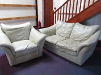 Leather Chair and Two Seater Sofa, Cream