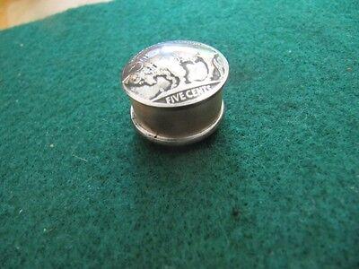 UNIQUE HANDCRAFTED U.S. BUFFALO NICKEL COPPER COIN SNUFF BOX/ PILL BOX