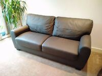 Brown Leather Sofa - Nearly New