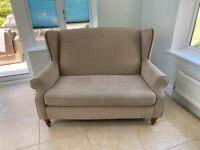 Next Sherlock Studded Petite Sofa (2 Seater) - Plush Chenille Light Mink