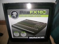 Never Used ! Mackie ProFX16 V2 , Professional Mixer + USB Recording Interface. Setup via Mac or PC.